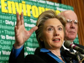 Sen. Clinton delivers an address at a conference on environmental protection in Washington, D.C. in January 2003.