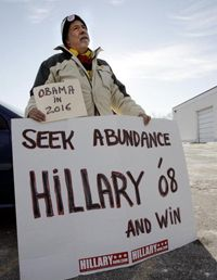 """Clinton has shaped her 2008 campaign message to include her experience, saying she would be """"ready to lead from day one."""" This voter in New Hampshire in December 2006 appears to agree."""