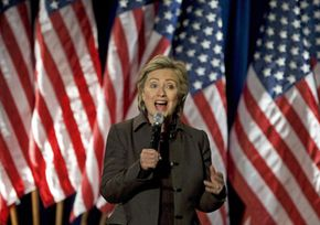 """Hillary Clinton at a fundraiser for her 2008 campaign called """"Holidays with Hillary"""" in December 2007. The event raised over $1 million in one night."""