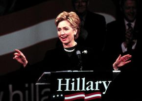 Hillary Clinton announces her campaign to become senator for New York in February 2000.