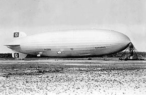 The Hindenburg at the Lakehurst Naval Air Station, New Jersey in 1936, a year prior to the crash