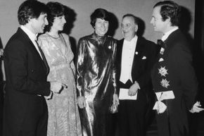 Benacerraf (second from right) mingles with Swedish royals at the 1980 ceremony for Nobel laureates. The Swedish king is all the way on the right.