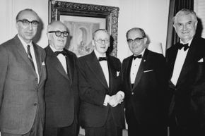 Houssay's fascination with the pituitary gland and its direction of insulin had big ramifications for the chronic disease diabetes. Houssay is second from the left in this picture from 1947.