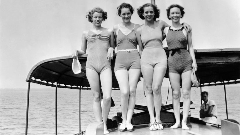 women in old-fashioned bathing suits