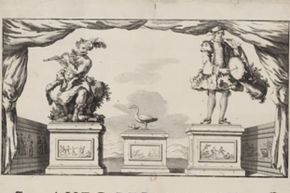 A drawing of three of Vaucanson's works. The flute-player is on the left, another human-like automaton is on the right, and the famous pooping duck is in the middle.