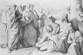 This 1842 engraving shows Jesus discoursing with the Pharisees.
