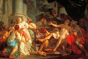 This painting by Jacques-Louis David portrays the death of Seneca. Seneca was a leading Stoic and the tutor of Emperor Nero. Seneca was forced to commit suicide after being implicated in a plot to assassinate Nero.