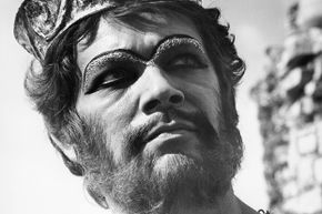"""Stephen Boyd portrays the defiant King Nimrod in a scene from the 1966 film """"The Bible: In The Beginning""""."""