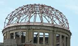 The dome was left in this condition as a reminder of nuclear war's effects.