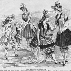 It's sink or swim! French bathing costumes from the 1880s featured full skirts and bloomers for good measure.