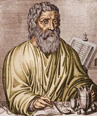 Hippocrates, ancient Greek physician and author of the Hippocratic Oath. See more Ancient Greece pictures.