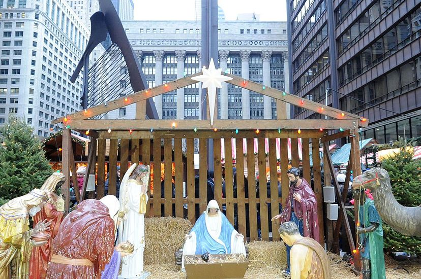 This Nativity scene is an attraction at Christkindlmarket in Daley Plaza, Chicago — and also the subject of protests. Chris McKay/Getty Images