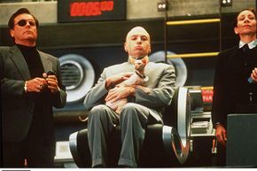 Mike Myers (center) spoofed the typical longwinded villain when he played Dr. Evil in 1997's 'Austin Powers: International Man of Mystery.'