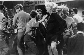 Choreographed break-out numbers have been part of film for decades. Here, a wild watusi marks the high point of a college vacation dance in a scene from the 1964 film 'Get Yourself A College Girl.'