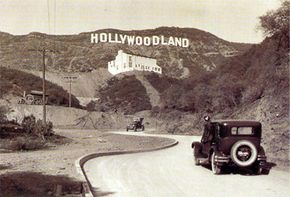 """The original """"Hollywoodland"""" sign in the 1920s."""
