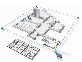 House floor plan, digital rendering.