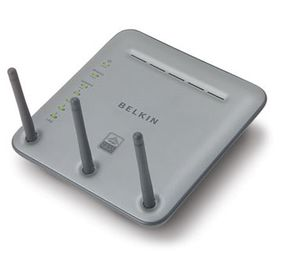 This Belkin router provides wireless and Ethernet connections, while also acting as a firewall.