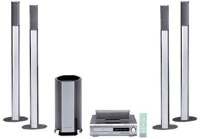 Sony home-theater system, featuring a DVD player with built-in surround-sound receiver and a collection of speakers
