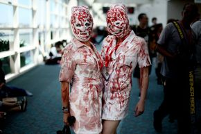 """It took the film """"Blood Feast"""" for some people to get in touch with their inner gore. These two bloody nurses appeared at the 2011 Comic-Con in San Diego."""