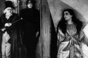 """Left to right, Werner Krauss (Dr. Caligari), Conrad Veidt (Cesare) and Lil Dagover (Jane Olsen) look creeptastic in a scene from Robert Wiene's """"The Cabinet of Dr. Caligari."""""""