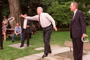 Even world leaders like to play horseshoes. Here, former U.S. president George H.W. Bush plays a game with former president of Russia Boris Yeltsin.