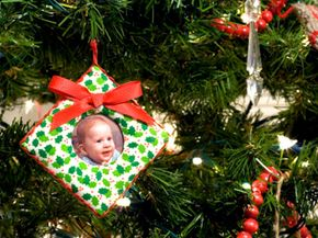 Homemade photo ornaments add a personal touch to any holiday tree.