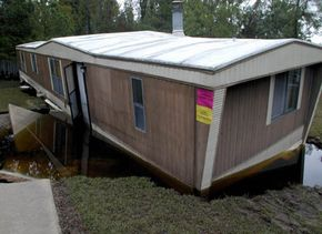 Hurricane Floyd formed an eddy beneath this mobile home in North Carolina in 1999. The foundation was undermined, causing the home to settle dramatically.