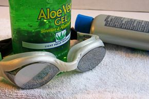 Getting Beautiful Skin Image Gallery Swim goggles and aloe vera gel are great beach supplies. Let's just hope that suntan lotion has a decent SPF rating -- or else you could be looking at a sunburn. See more pictures of getting beautiful skin.
