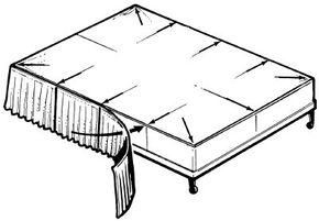 The dust ruffle is attached to a plain panel between the box spring and the mattress; match the gathered ruffle to the panel edges, placing the ruffle seams against the panel's marked interval points.
