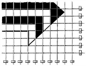 Tape pieces of string to the wall to make a grid; measure and use plumb weights to place them accurately. Transfer the plotted design carefully to the grid on the wall.