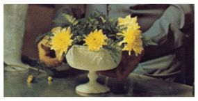 Arrange a circle of flowers around the edges.