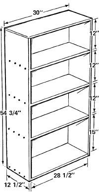The bookcase stands 54 3/4 inches high and 30 inches wide, with three shelves; molding covers the cut edges.