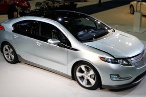 The Chevy Volt, an electric car that GM says will go 40 miles on an electric charge, is on display at the Washington Auto Show, on Jan. 26, 2010.