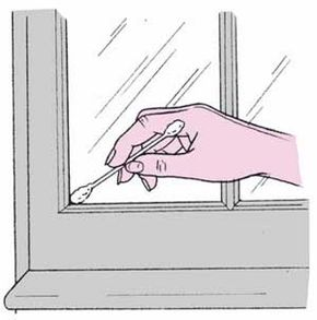 A cotton swab or soft toothbrush works for cleaning window corners.