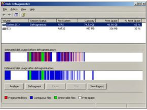 The Windows XP defragmentation program provides a visual display of the reduction in fragmented files. Note that there are virtually no red lines in the bottom representation.