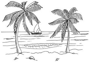 Learn how to draw this tropical beach landscape.