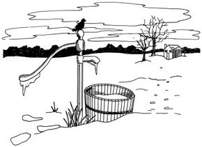 Learn how to draw this icy water pump landscape.