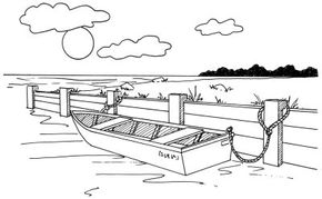 Learn how to draw this rowboat at a seawall landscape.