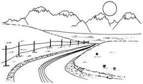 Learn how to draw this mountain vista landscape.