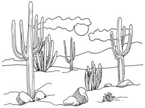 Draw landscapes of cacti in a desert scene. In this article, you can learn how to draw this landscape of cacti that thrive under a scorching sun.