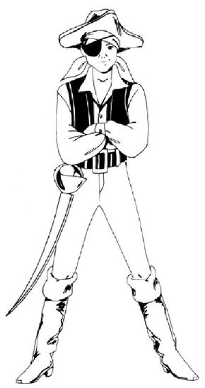 Draw a boy in a pirate costume following our step-by-step directions and illustrations.