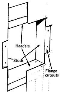Cut an opening between the studs; remove drywall for the safe's flanges. Add double headers at top and bottom.