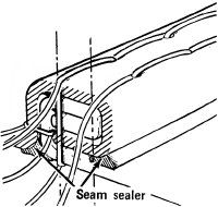 Fold the seam edges under twice to form                                            a flat-felled seam; stitch the seam twice.                                            Seal the open edges, on both sides,                                            with seam sealer.