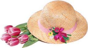 Use a button bouquet brooch to decorate a hat.