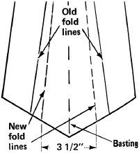 Open the tie and baste the layers of fabric together. Then measure the desired width and baste to mark the new fold lines.