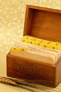 Organize recipes so you can find them quickly and easily.