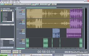 A screenshot of Cool Edit Pro in action. Audio software like this is used by podcasters to mix, layer, blend, adjust levels and perform countless other edits and manipulations on the sound files that make up a podcast.