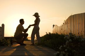 A proposal on the beach at sunset is hard to beat in the romance department.