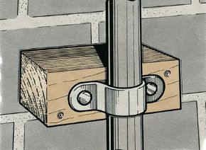 A pipe banging against a masonry wall can be silenced by wedging a wood block behind it, fastening the block to the wall, and securing the pipe to the wood.