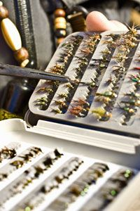 Fishing flies are tied by hand and a good bet to land a shallow mouth hooking.
